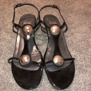 Stuart Weitzman Black Leather Sandals Size 8